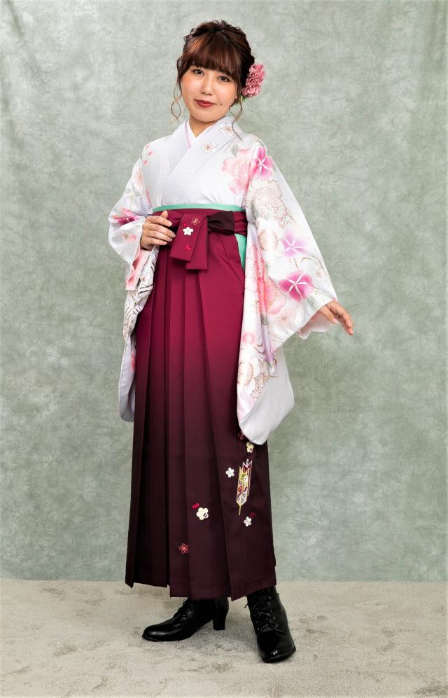 出張着付け西宮袴のレンタル シルバー桜