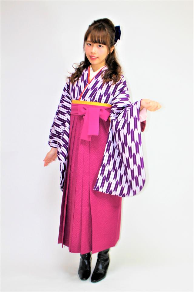西宮出張着付けの2 矢絣 紫二尺袖着物