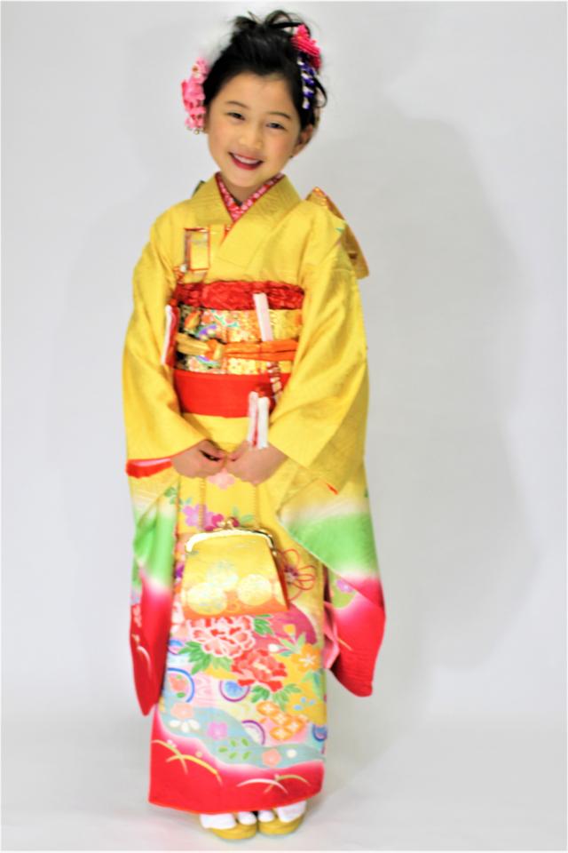 出張着付け西宮 7歳女児振袖 正絹黄色