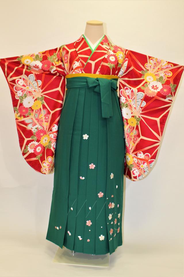 出張着付け芦屋の袴レンタル 青地に大花
