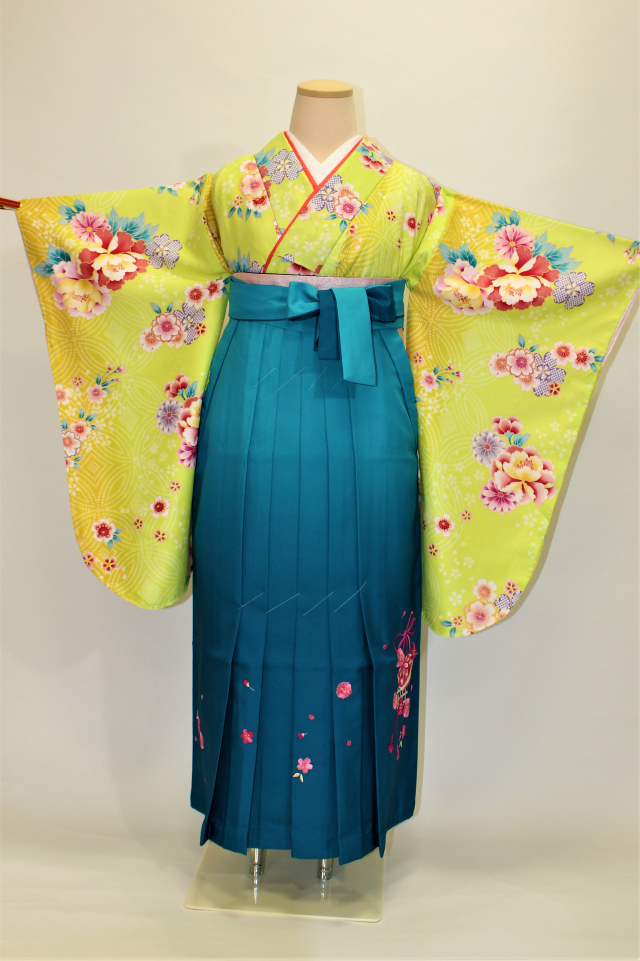 芦屋出張着付けの2 黄緑地に桜と牡丹の二尺袖着物