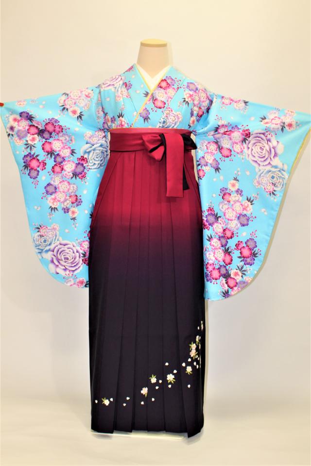 神戸出張着付け袴のレンタル 水色地にエンジの桜の二尺袖着物