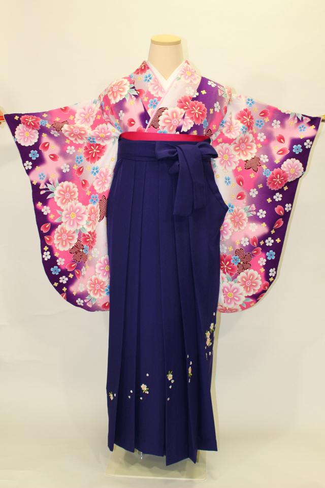 出張着付け西宮の1 ピンクX紫ぼかし二尺袖