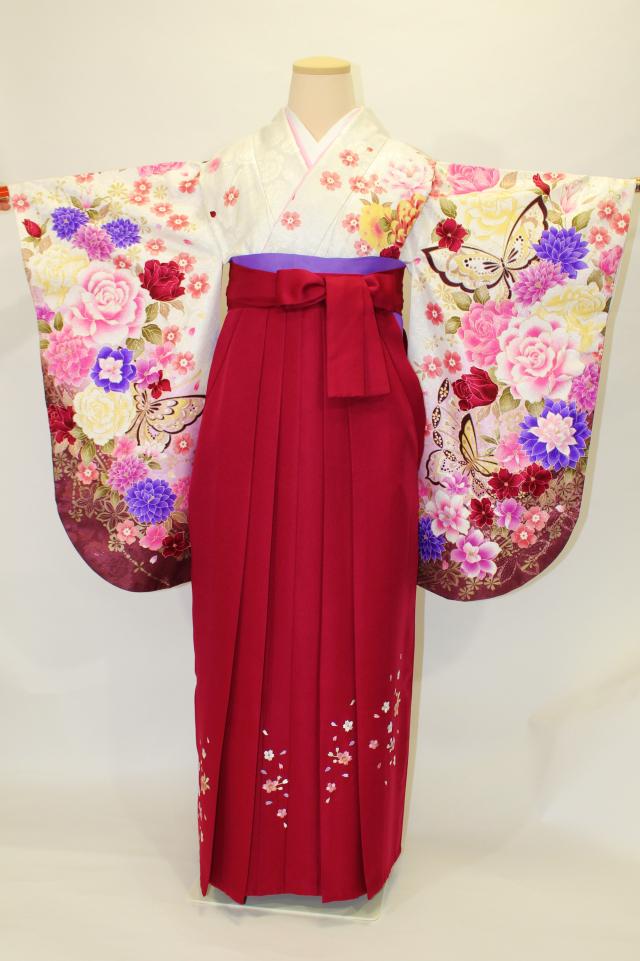 西宮出張着付けの2 ラメ白地に桜と菊とバラの二尺袖着物