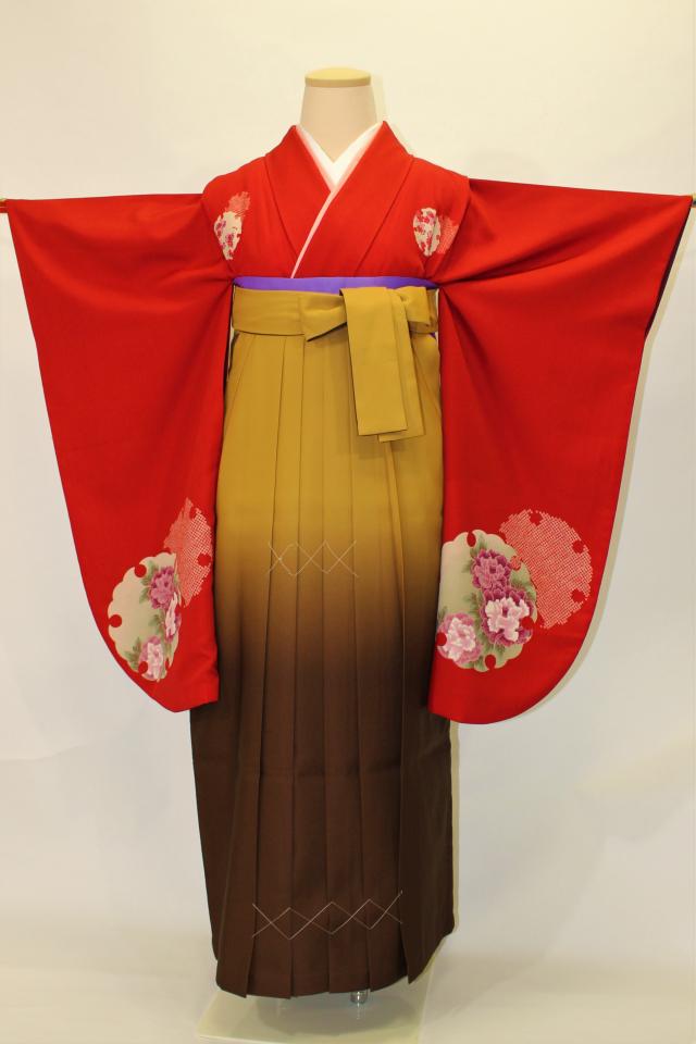 芦屋出張着付けの2 赤地雪輪に花の二尺袖着物