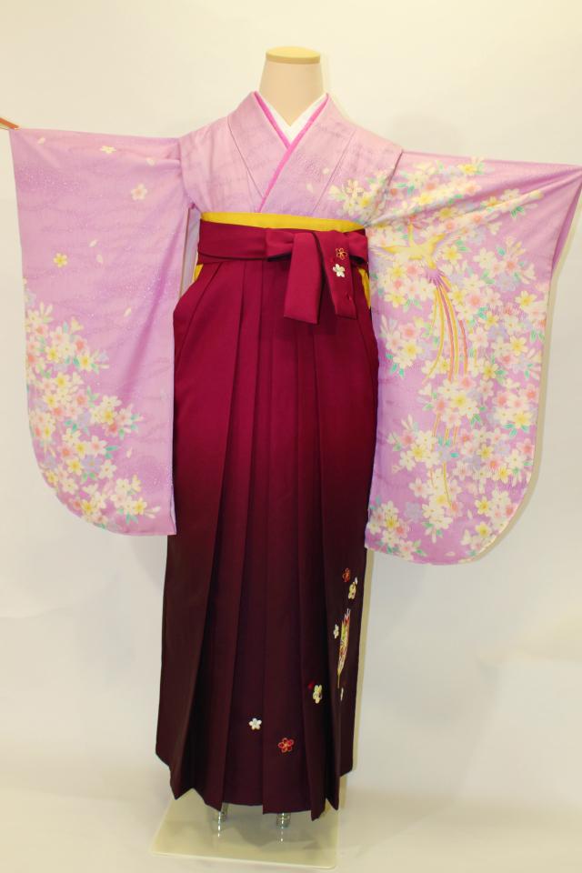 出張着付け芦屋の1 藤色 鳳凰に桜の正絹二尺袖着物