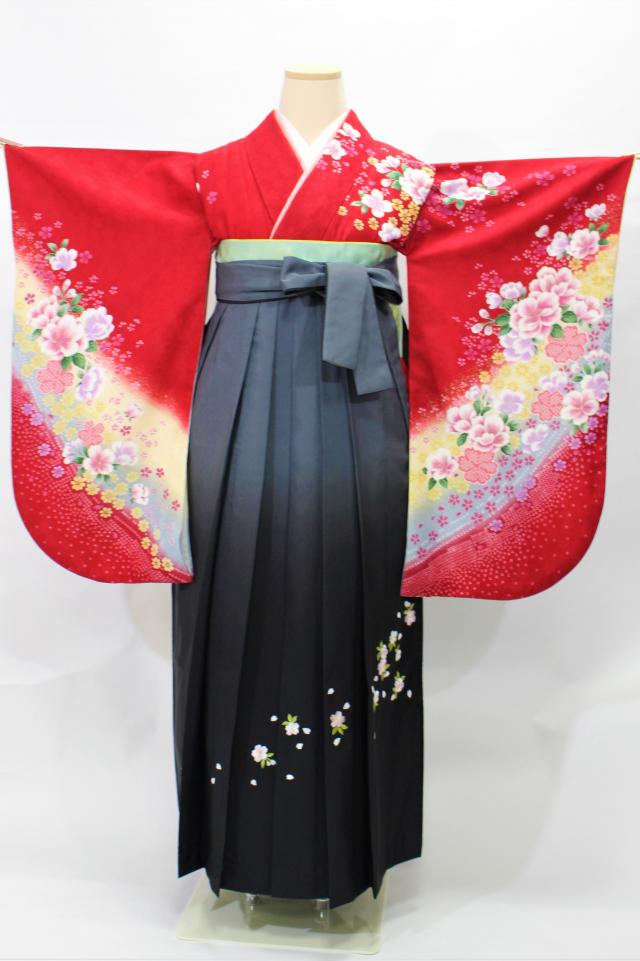 出張着付け芦屋の1 赤地に桜の二尺袖着物