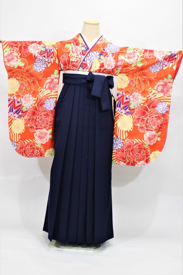 尼崎出張着付け袴のレンタル 朱地に花の二尺袖着物