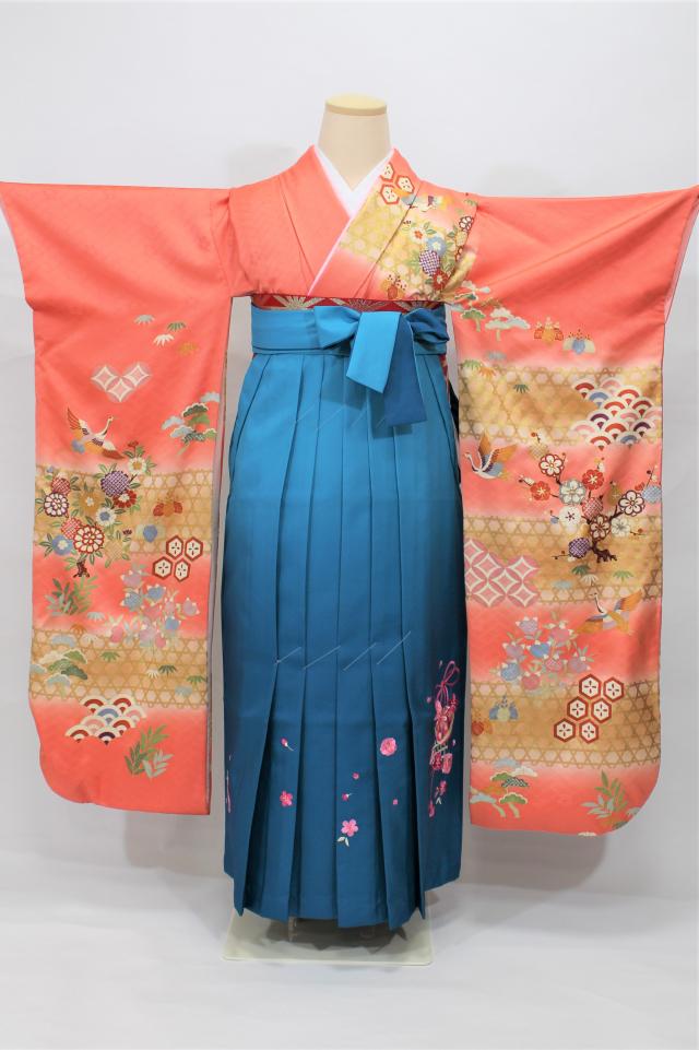 出張着付け西宮の1 サーモンピンク地正絹二尺袖着物