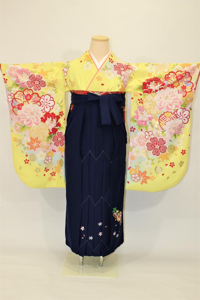 芦屋出張着付けの2 黄色地に金彩桜の二尺袖着物