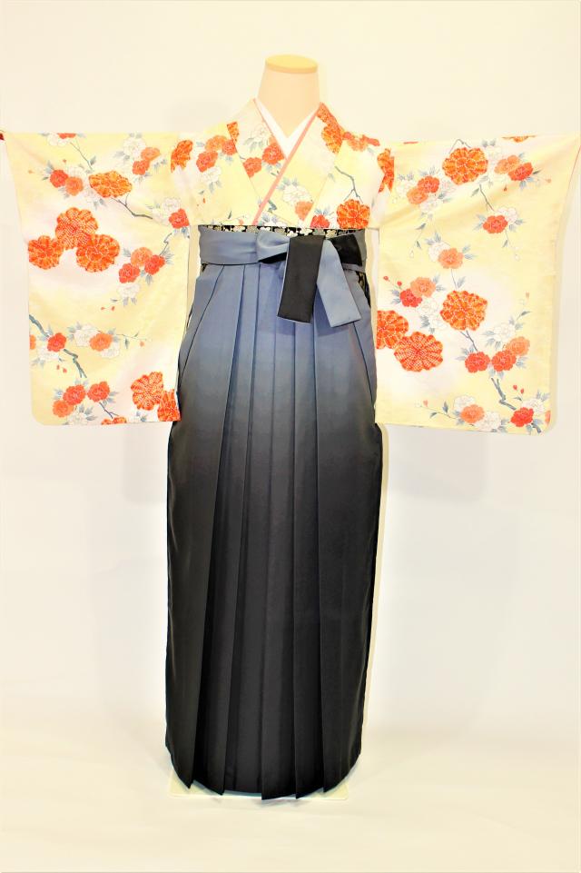 芦屋出張着付けの袴のレンタル クリーム地に菊と牡丹の小紋